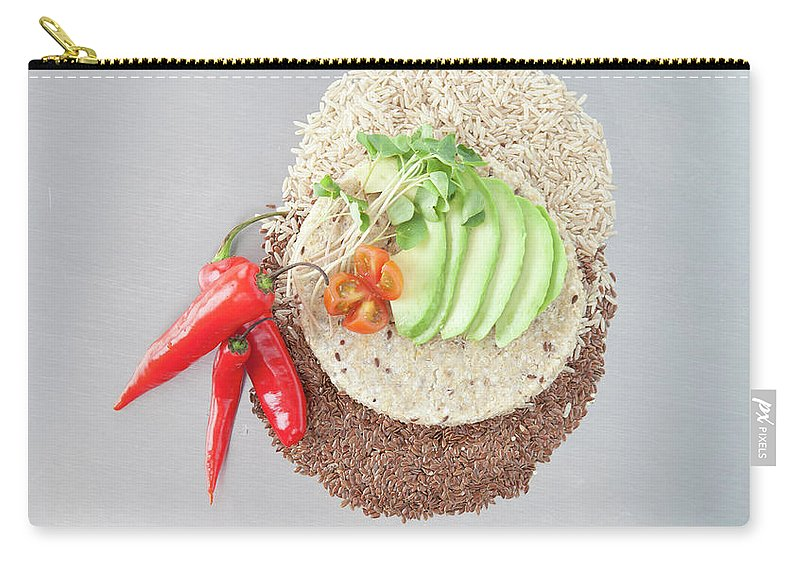 Flax Seed Carry-all Pouch featuring the photograph Sliced Avocado And Peppers With Grains by Laurie Castelli