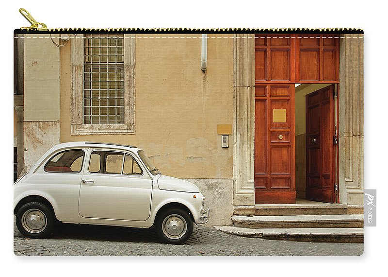 Steps Carry-all Pouch featuring the photograph Small Coupe Parked Near A Doorway On A by S. Greg Panosian