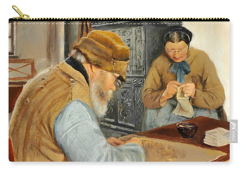 19th Century Art Carry-all Pouch featuring the painting Smallholders In The Village Of Ring by Laurits Andersen Ring