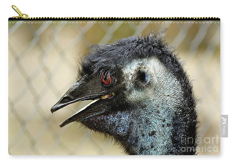 Photography Carry-all Pouch featuring the photograph Smiley Face Emu by Kaye Menner
