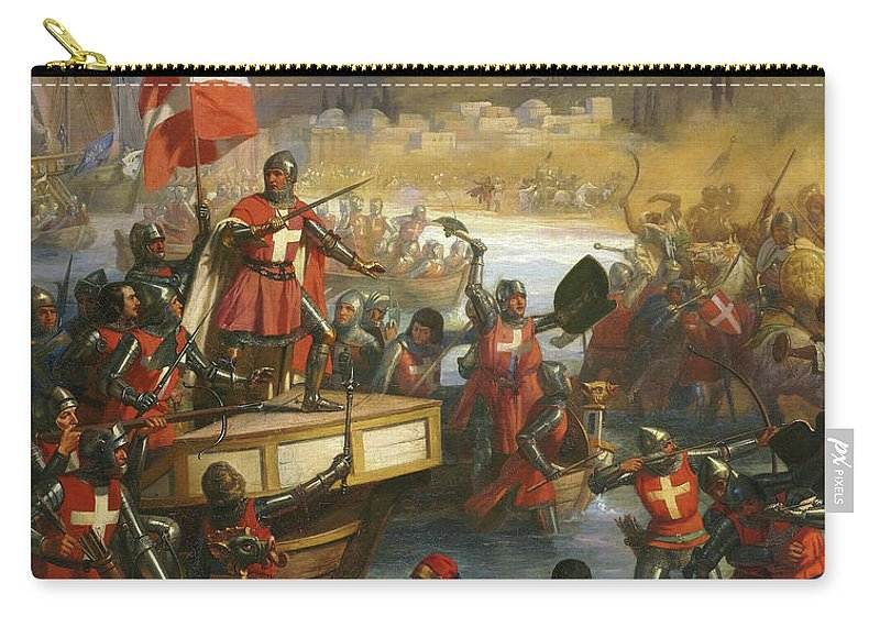 Siege Of Smyrna Carry-all Pouch featuring the painting Smyrniote Crusades, 1344 by Charles-Alexandre Debacq