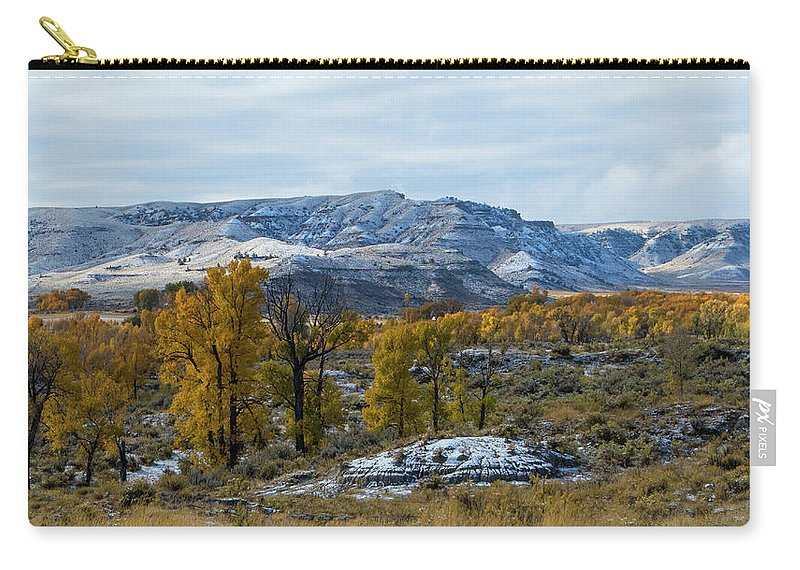 Snow Falls On Autumn Carry-all Pouch featuring the photograph Snow Falls On Autumn by Tracie Fernandez