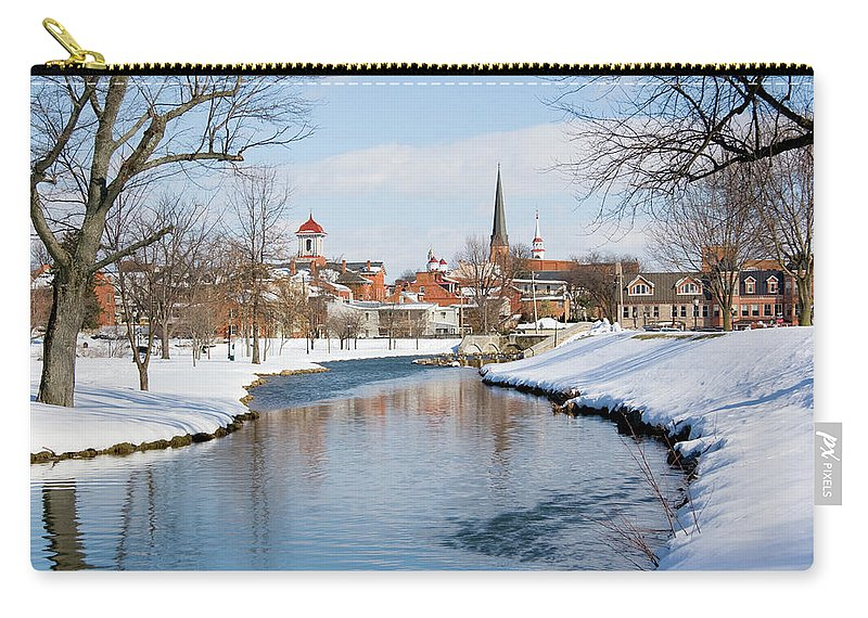 Scenics Carry-all Pouch featuring the photograph Snowy Frederick Maryland Park And by Williamsherman