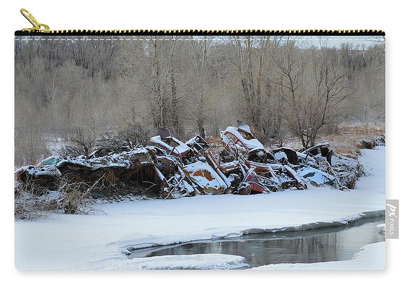 Snowy Graveyard Carry-all Pouch featuring the photograph Snowy Graveyard by Tracie Fernandez