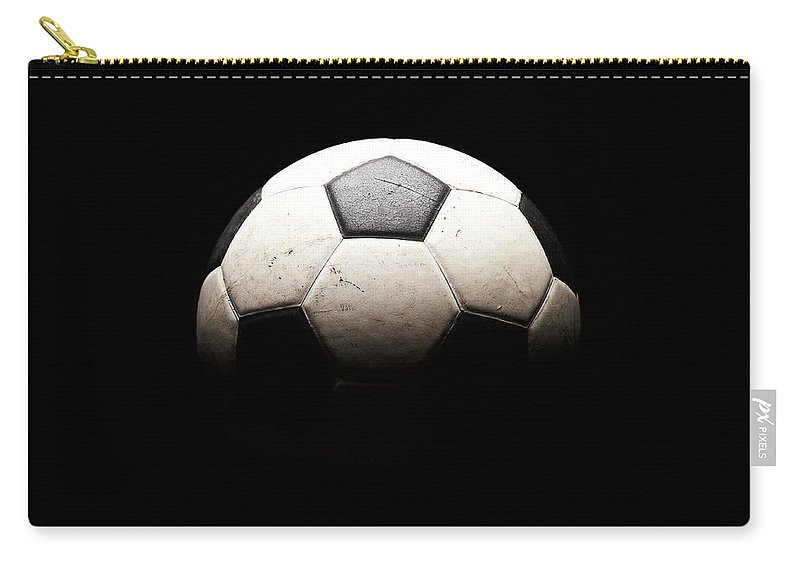 Shadow Carry-all Pouch featuring the photograph Soccer Ball In Shadows by Thomas Northcut