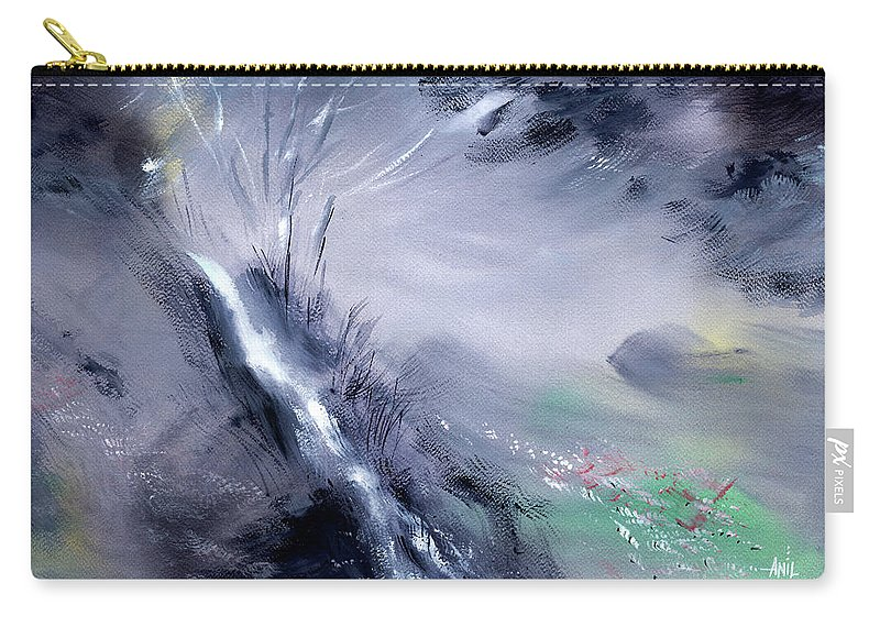 Nature Carry-all Pouch featuring the painting Somewhere deep into the woods by Anil Nene