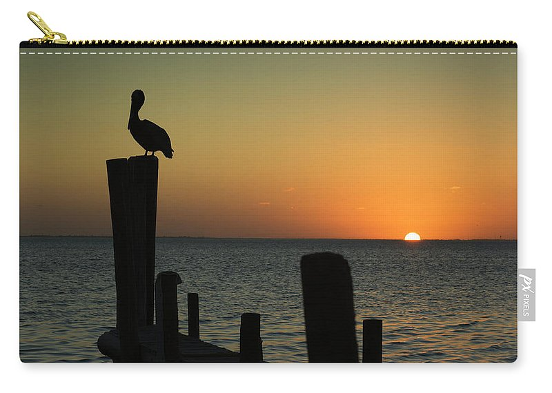 Orange Color Carry-all Pouch featuring the photograph South Padre Island, Texas Sunset With by Yangyin