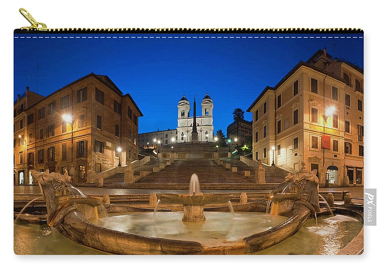 Steps Carry-all Pouch featuring the photograph Spanish Steps Piazza Di Spagna Fontana by Fotovoyager