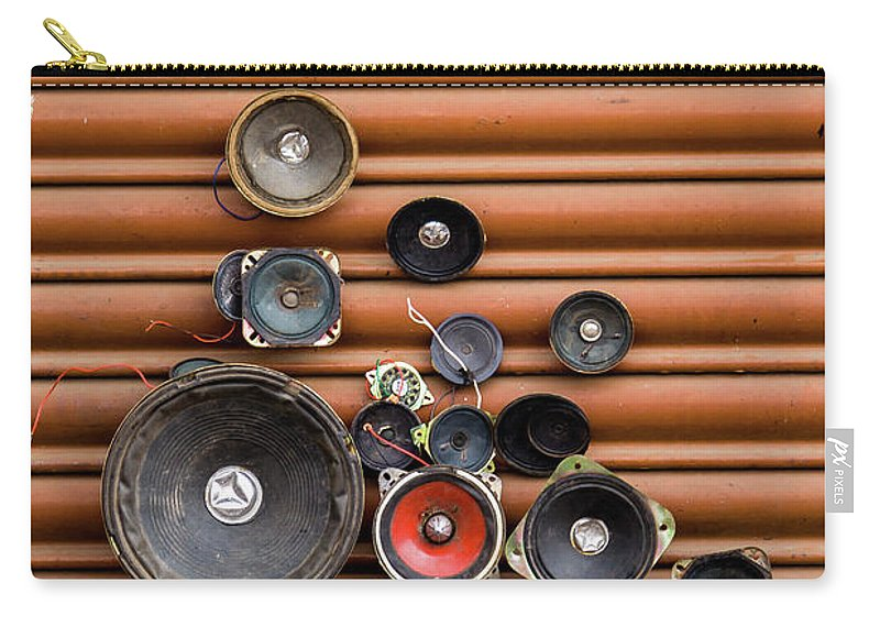 Shutter Carry-all Pouch featuring the photograph Speakers On Shutter by Suyog Gaidhani