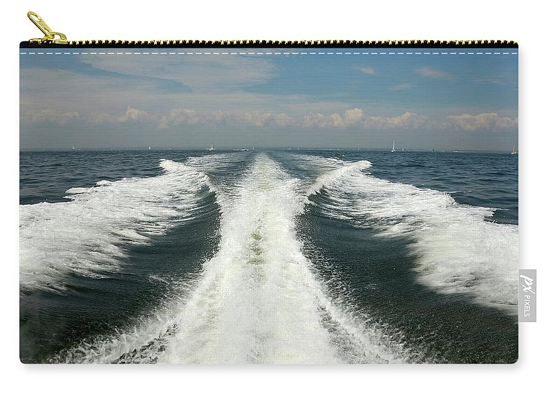 Scenics Carry-all Pouch featuring the photograph Speed Boat Wake by Ishootphotosllc