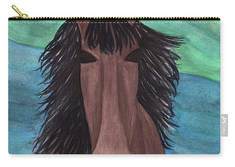 Spirit Horse Carry-all Pouch featuring the mixed media Spirit Horse by Jessica Karpinske