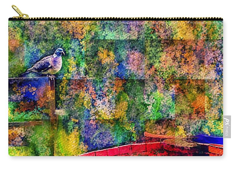 Pigeon Carry-all Pouch featuring the mixed media Spirit Messenger by Laurie's Intuitive