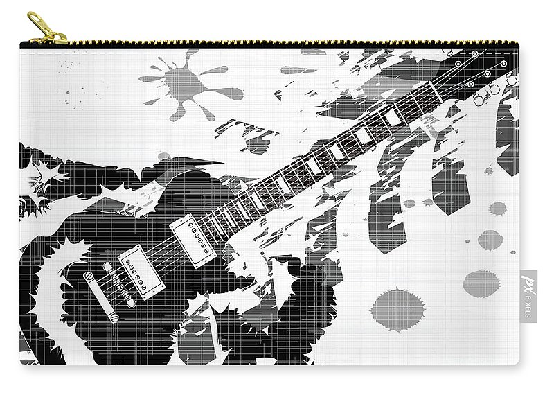 Guitar Carry-all Pouch featuring the digital art Splatter Guitar by Bigalbaloo Stock