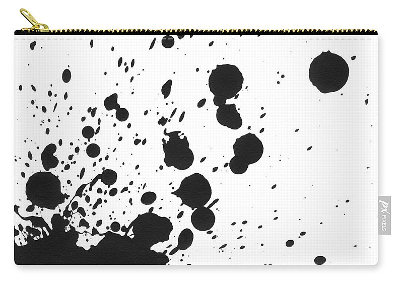 Art Carry-all Pouch featuring the photograph Splattered Black Paint On White Canvas by Kevinruss