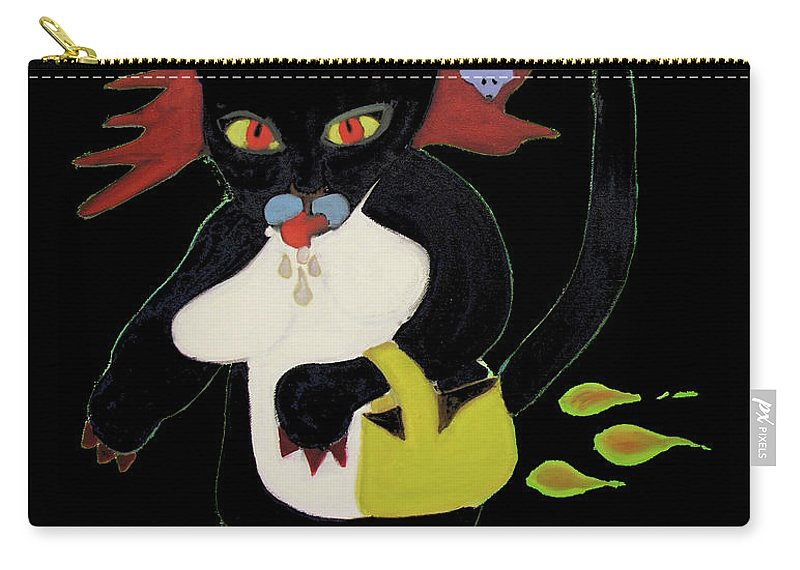 Spooky Carry-all Pouch featuring the digital art Spooky Cat by Gail Eisenfeld