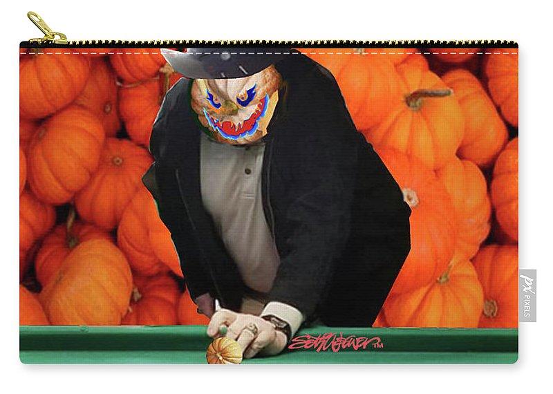 Spooky Pumpkin Pool Carry-all Pouch featuring the digital art Spooky Pumpkin Pool by Seth Weaver