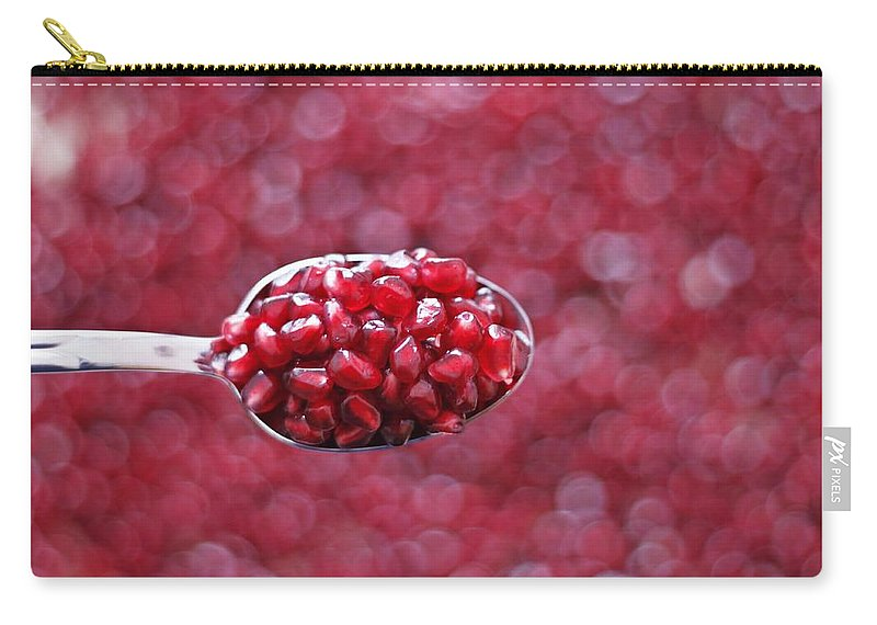 Heap Carry-all Pouch featuring the photograph Spoon Of Pomegranate by Gulale