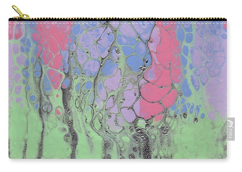 Abstract Art Carry-all Pouch featuring the painting Spring Flowers by Crazy Gemini Art