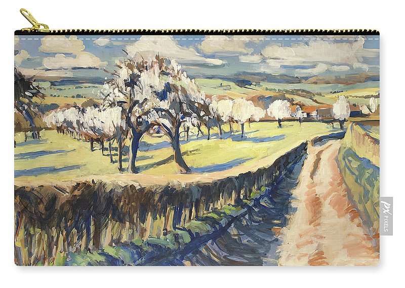 Bellet Carry-all Pouch featuring the painting Spring In The Bellet Fruit Orchard by Nop Briex