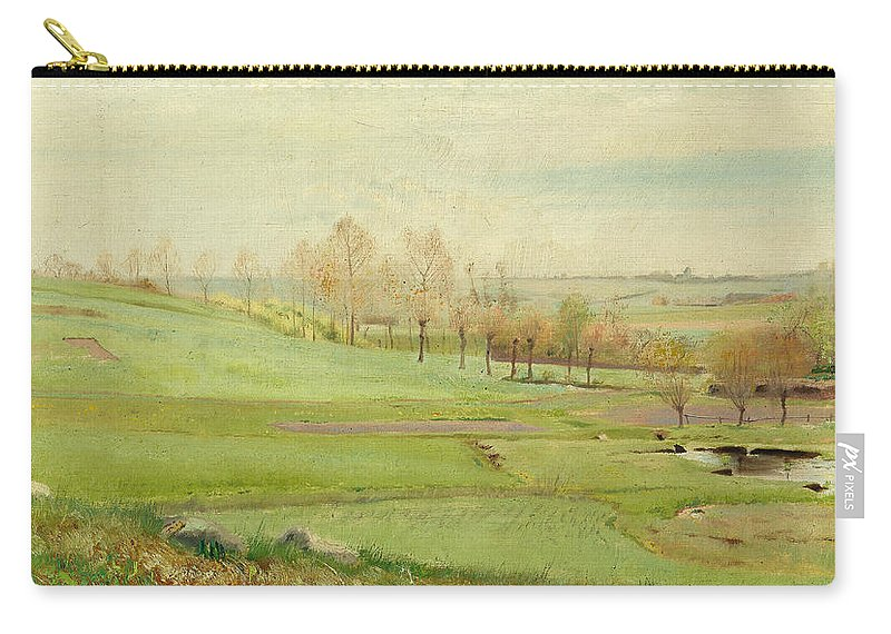 19th Century Art Carry-all Pouch featuring the painting Spring Landscape With Light Green Fields by Laurits Andersen Ring