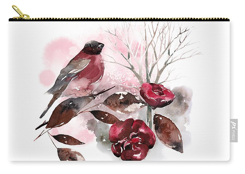 Bird Carry-all Pouch featuring the painting Spring Rests In The Heart Of Winter by Little Bunny Sunshine