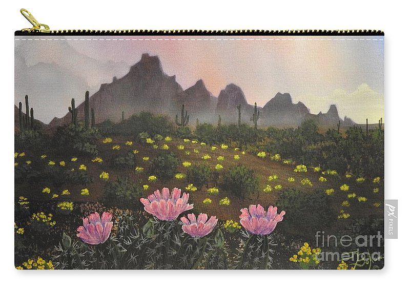 Hedgehog Cactus Flowers Carry-all Pouch featuring the painting Spring Solitude by Jerry Bokowski