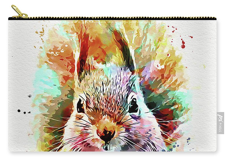 Squirrel Carry-all Pouch featuring the mixed media Squirrel Painting by Nikolay Radkov