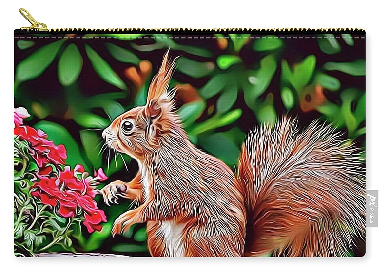 Squirrel Carry-all Pouch featuring the digital art Squirrel by Russ Carts