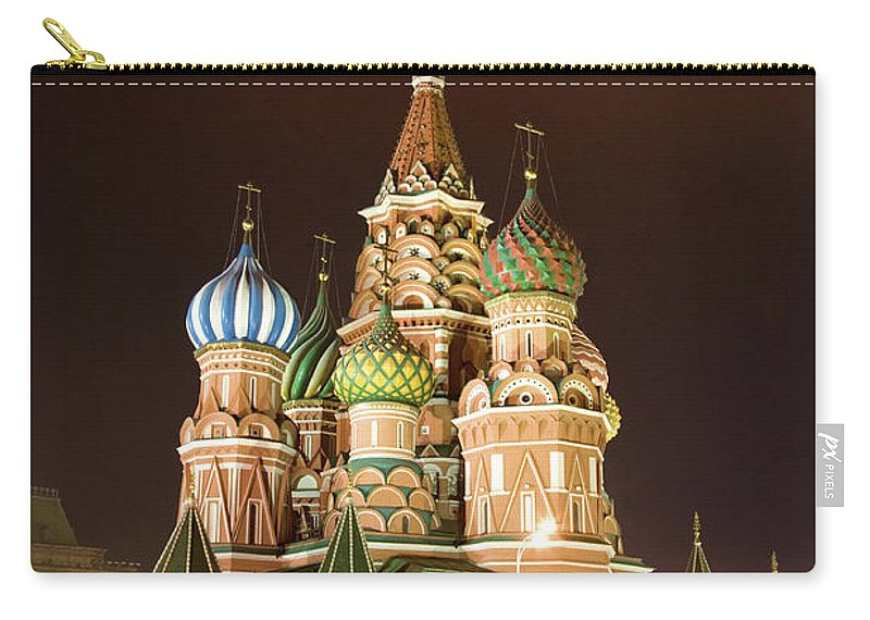 Red Square Carry-all Pouch featuring the photograph St Basils Cathedral In Red Square At by Lp7