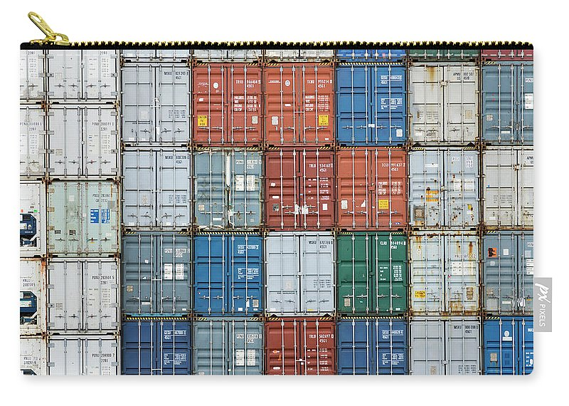 Trading Carry-all Pouch featuring the photograph Stack Of Cargo Containers Full Frame by Andy Andrews