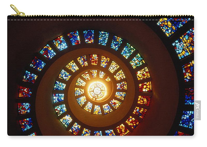 Directly Below Carry-all Pouch featuring the photograph Stained Glass Window, Thanksgiving by John Elk Iii