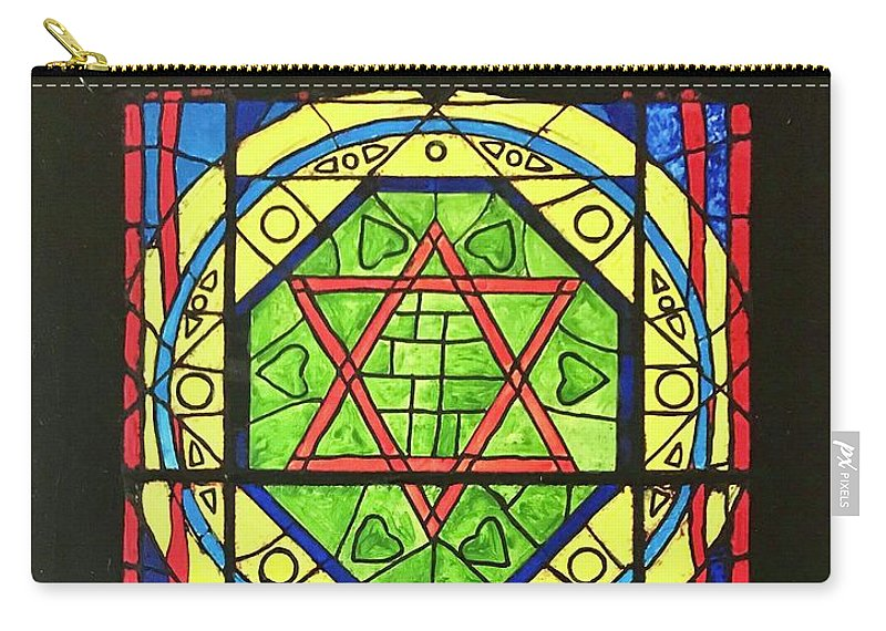 Star Of David Carry-all Pouch featuring the painting Star Of David Stained Glass by Gary Springer