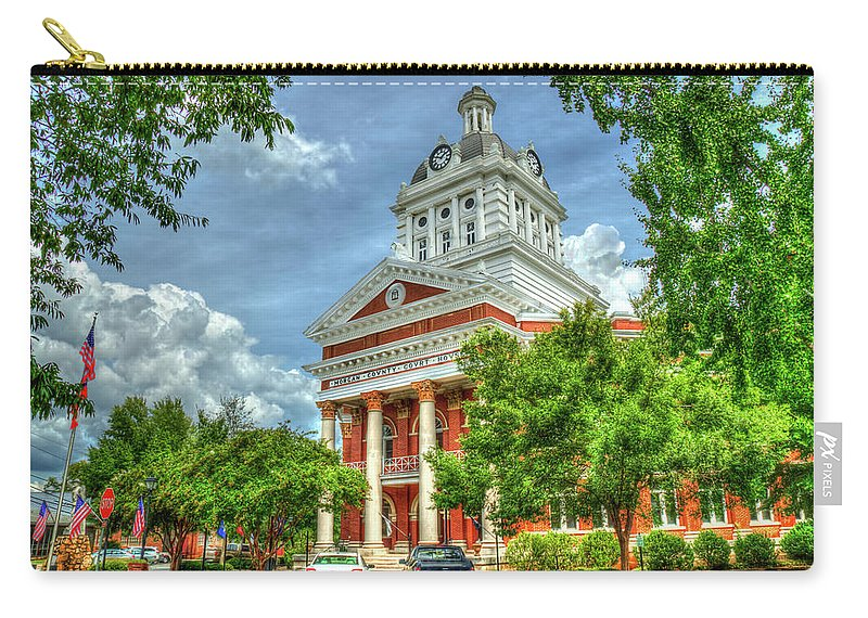Reid Callaway Georgia Historic Art Carry-all Pouch featuring the photograph Stately Elegance Morgan County Court House Madison Georgia Art by Reid Callaway