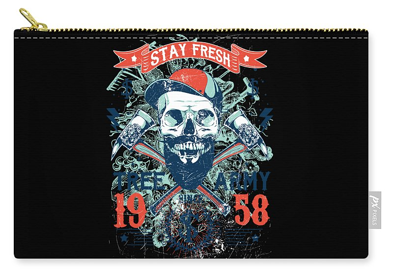 Veteran Carry-all Pouch featuring the digital art Stay Fresh Tree Army Vintage Skull by Passion Loft