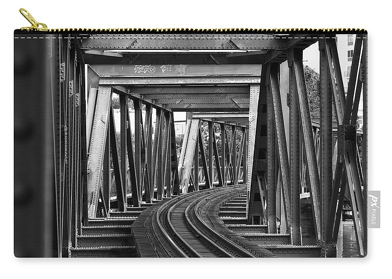 Railroad Track Carry-all Pouch featuring the photograph Steel Girder Railway Bridge by Peterjseager