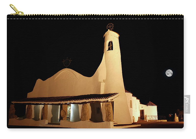Art And Craft Product Carry-all Pouch featuring the photograph Stella Maris Church In Porto Cervo With by Photovideostock