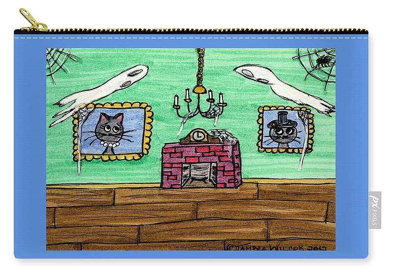 Night Carry-all Pouch featuring the painting Stick Cats #1 by Tambra Wilcox