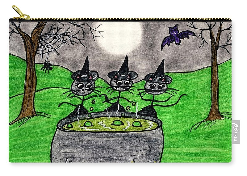 Night Carry-all Pouch featuring the painting Stick Cats #2 by Tambra Wilcox