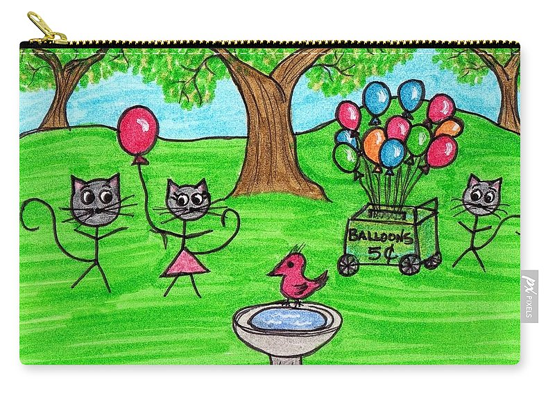 Stick Carry-all Pouch featuring the painting Stick Cats #7 by Tambra Wilcox