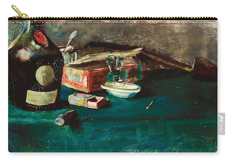 Christian Krohg Carry-all Pouch featuring the painting Still Life With A D O M Bottle by Christian Krohg