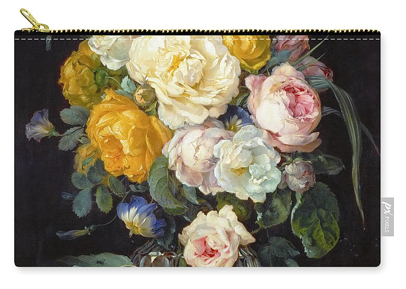 Cornelis De Heem (1631-1695) Carry-all Pouch featuring the painting Still Life With Peonies by Cornelis de Heem