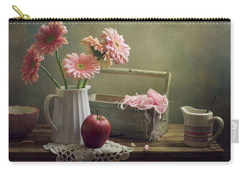 Spoon Carry-all Pouch featuring the photograph Still Life With Pink Gerberas And Red by Copyright Anna Nemoy(xaomena)