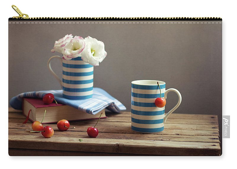 Cherry Carry-all Pouch featuring the photograph Still Life With Striped Cups by Copyright Anna Nemoy(xaomena)