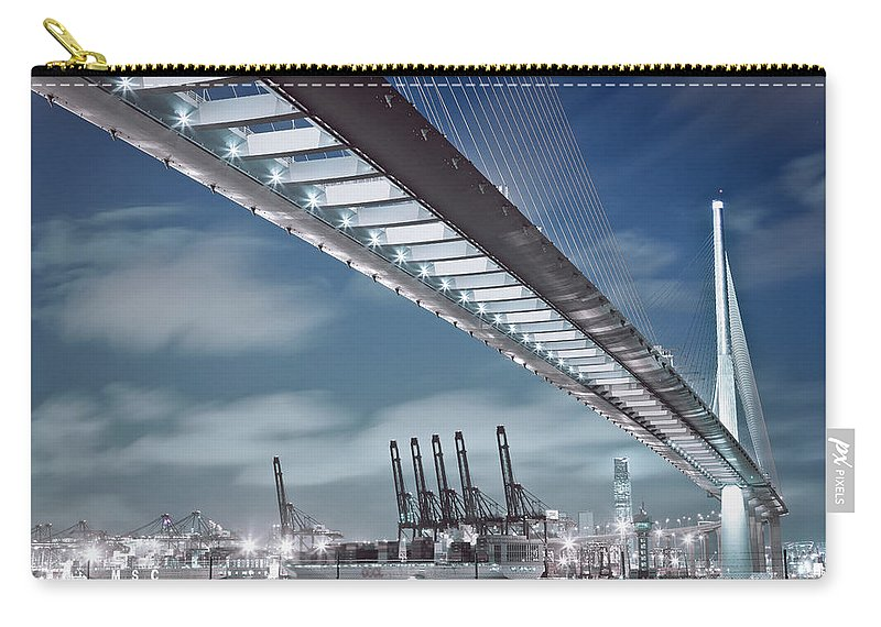 Built Structure Carry-all Pouch featuring the photograph Stonecutters And Container Terminal by Andi Andreas