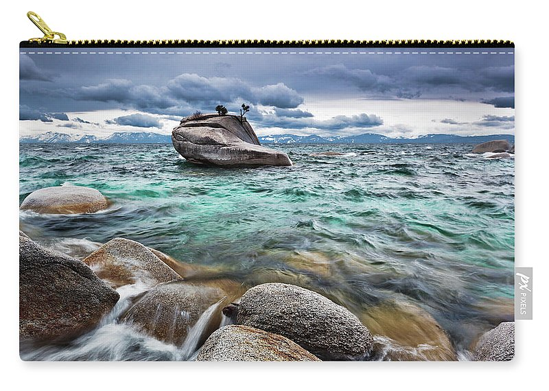 Outdoors Carry-all Pouch featuring the photograph Storm, Lake Tahoe by Ropelato Photography; Earthscapes