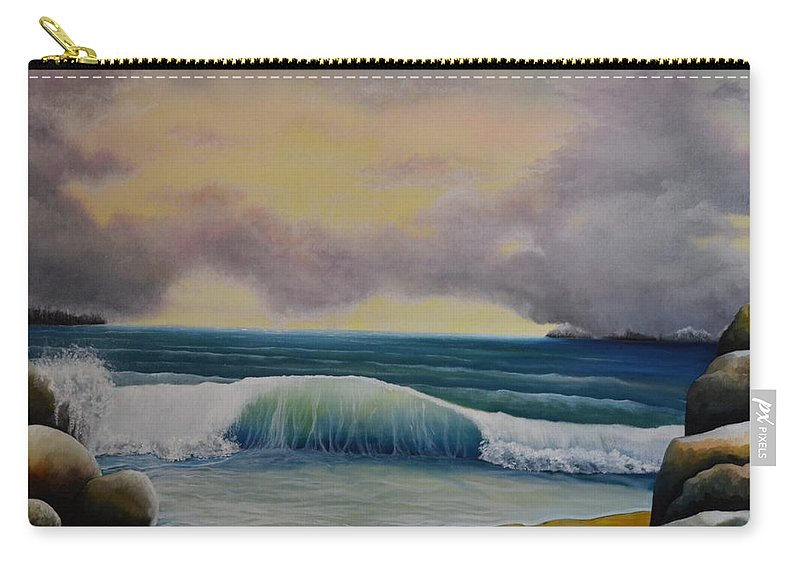 This Is An Oil Painting Of A Seascape. I Wanted To Paint A Large Wave Crashing On The Land. I Painted Large Rocks And A Sandy Beach For This Seascape. I Made The Sky With Large Dark Clouds That Are Forming Into A Storm. The Large Wave I Painted Shows It's Almost Fully Crested. Part Of This Wave Is Crashing Against The Rocks. In The Distant Background Are Some Islands. This Is A Large Painting That Would Complement Any Room In A House Or Office. Carry-all Pouch featuring the photograph Storm Waves by Martin Schmidt