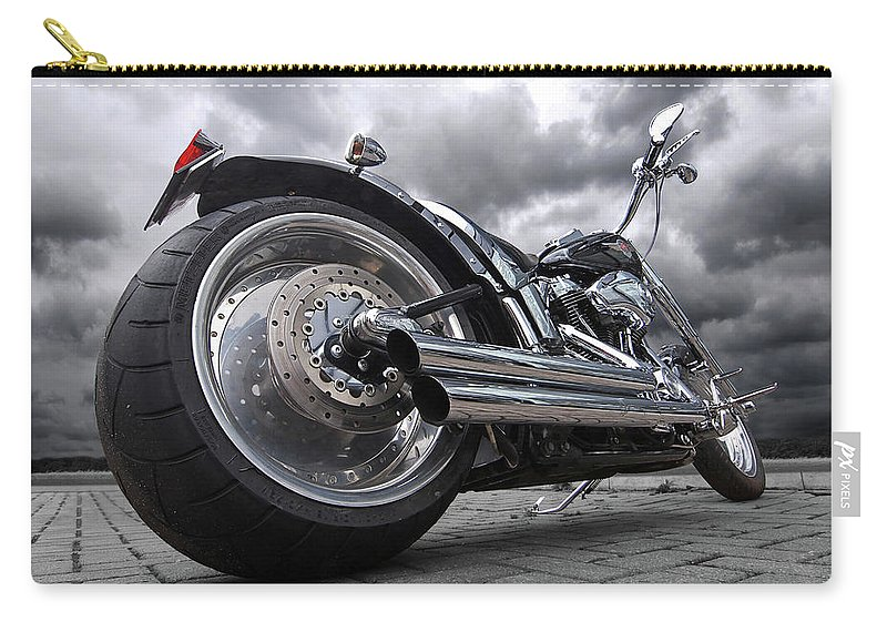 Harley Davidson Motorcycle Carry-all Pouch featuring the photograph Storming Harley by Gill Billington