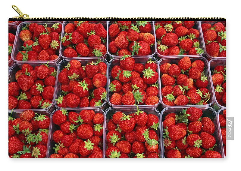 Fruit Carton Carry-all Pouch featuring the photograph Strawberries For Sale, Bergen, Norway by Anders Blomqvist