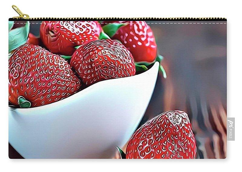 Strawberry Carry-all Pouch featuring the digital art Strawberries by Russ Carts