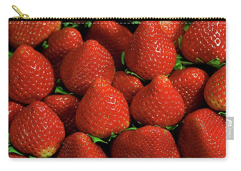 Large Group Of Objects Carry-all Pouch featuring the photograph Strawberry Cliche by By Ken Ilio